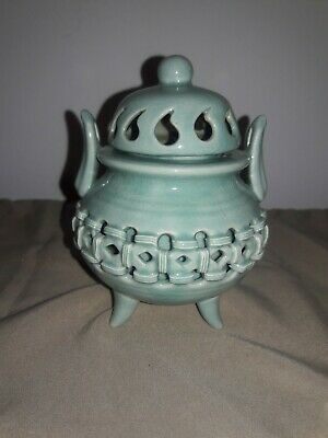 Chinese ancient antique hand made cyan glaze Hollowing out Incense burner.