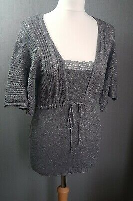 Womens On n'est nest pas des Anges sparkly silver knitted stretch top UK 18/20