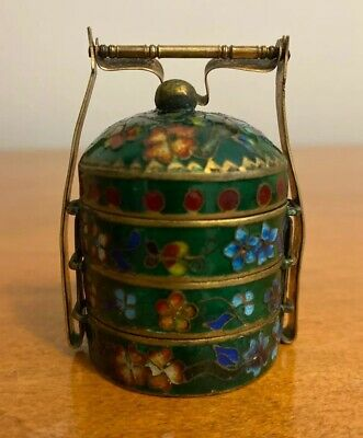 Antique Chinese Enamel Cloisonne 3 Tear Stacking Spice Box 19Th Century Snuff