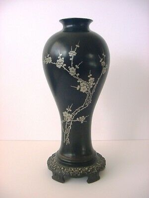 Antique Chinese Laquerware Silver Overlay Vase Wood Wooden Black Cherry Blossom