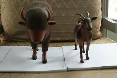 Rare Set of Carvings Signed & Dated by Artist 'OLAF' - Buffalo & Mountain Goat