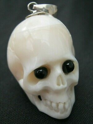 Unusual Skull Memento Mori Pendant With Black Onyx Eyes In Buffalo Bone & Silver