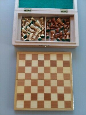 Vintage Hand Carved Wooden Travel Chess Set - W. Germany Black Forest