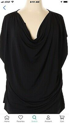Lane Bryant Black Drape Neck Simply Chic Knit Top Women 's Plus Size 26/28