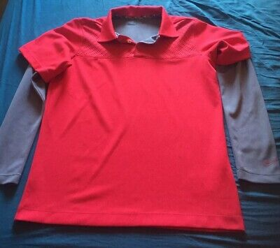 Nike Golf Dri Fit t shirt in Red/grey - 13 To 16years
