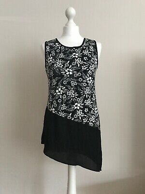 Ladies Black & White Floral Top by TU Size 8