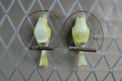Rare & Unusual Carved & Painted Canaries on Wire & Wood Perch