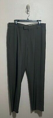 Kenneth Cole Reaction Mens Brown Dress Pants Trousers 34 x 32 Flat Front