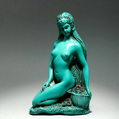 Collectable China Old Turquoise Hand-Carved Delicate Precious Nude Belle Statue
