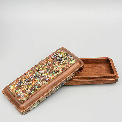 Collectable China Old Boxwood Inlay Seashell Hand Carve Delicate Luck Jewel Box