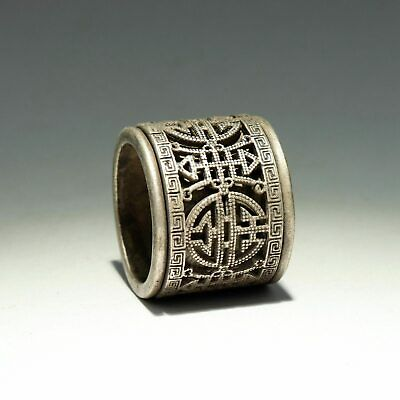 Collect China Old Miao Silver Hand-Carved Moral Auspicious Delicate Decor Ring
