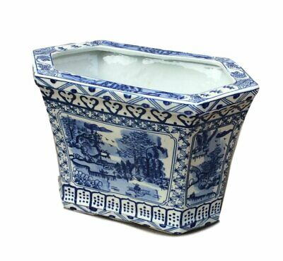 Blue and White Chinese Canton Planter/ Cachepot