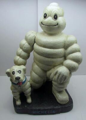 """Michelin Man with Dog London 1930, Cast Iron 10"""" Tall Statue"""