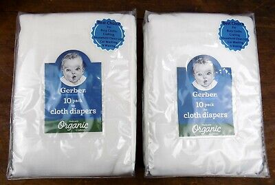 Gerber Baby Cloth Diapers Certified 100% Organic Cotton Two (2) Sets of 10 Ea.