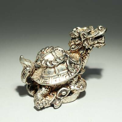 Collect China Old Miao Silver Hand-Carved Myth Dragon Turtle Auspicious Statue