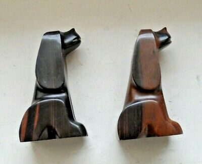 Pair of 2 Ebony Wood Hand Carved Mid Century Modern Matching Dog Statues