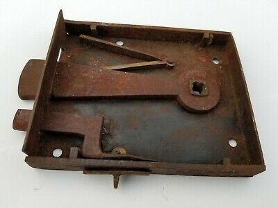 Antique 19th Century Rustic Primitive Wrought Iron Door Lock without Keeper