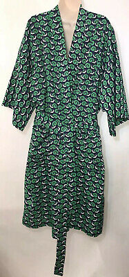 Neiman Marcus Vintage Snail Robe Men's One Size Belted Navy Blue Green White
