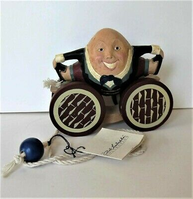 Briere Roly Poly, 1993 Humpty Dumtpy, signed Folk Art Pull Toy, VTG, Easter gift