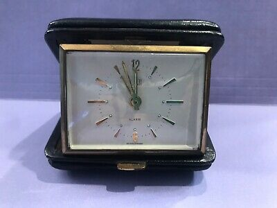 DUNHILL VTG Analog Travel Alarm Clock in leather tri fold case Very Nice, Works
