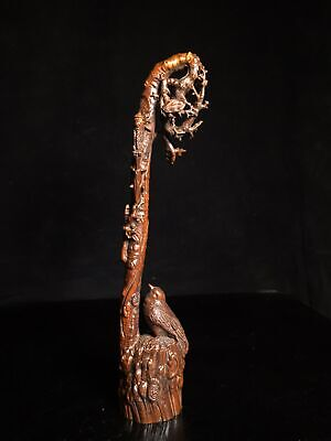 Collect Old Boxwood Hand-Carved Bird & Tree Branch Delicate Brush Rack Statue