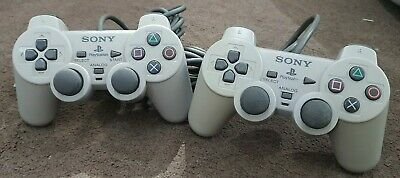 2 X Official Sony PSone Playstation PS1 White Analogue Dual Shock Controllers