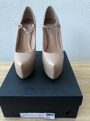 Tony Bianco Tami Nude Leather Heels - Size 9