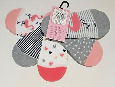 Girls Secret Socks - Flamingo - Size 27-30 (Approx UK 9-12) - 5-Pack - Brand New