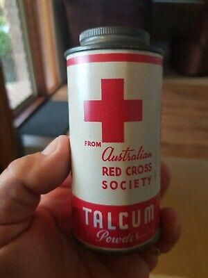 Rare Vintage Red Cross Society Talcum Powder Tin with contents.
