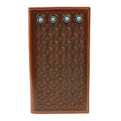 Nocona Western Mens Wallet Leather Rodeo Embossed Turquoise Stone Tan N500000008