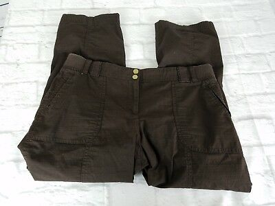 Chicos Womens Pants Size Small 6 Brown Cropped Wide Elastic Waist Stretch Zipper