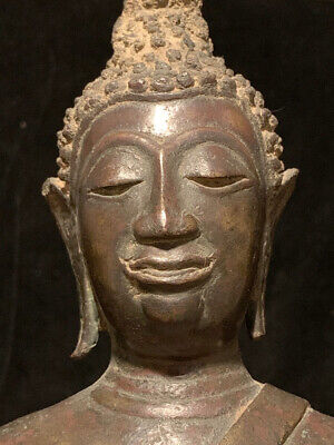 Large ancient bronze Thai Buddha statue on unique stepped base. 16th-17th c (?)