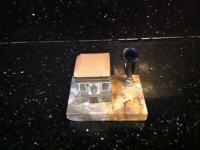 Vintage Marble Base Pen Stand With Glass Ink Well