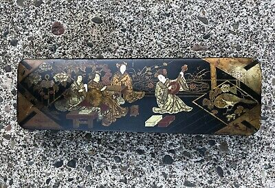 Antique Asian Chinese Black Lacquer Calligraphy (?) Box Inlaid Scene 11½X4½X1½