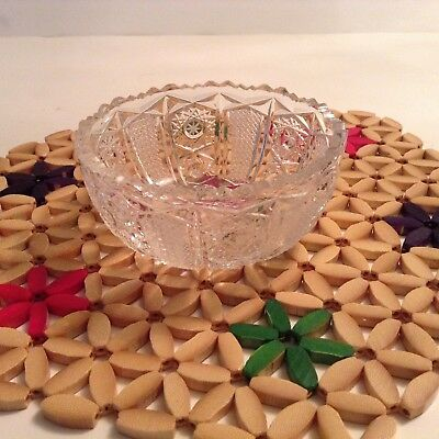 Vintage small Czech Republic Hand Cut Crystal Bowl For Desserts, Dips