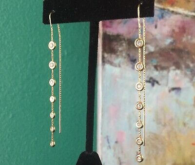 Jordan Schlanger 18k Yellow Gold And Diamond Bezel Set Dangle Earrings, Rare!