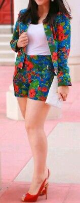 ZARA Poppies Floral Two-piece Co-ord Set Blue Red Green Jacket XS Shorts S