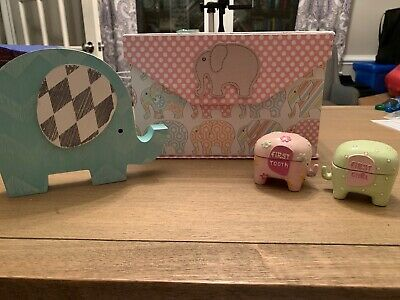 Baby Girl Elephant Memory Box First Tooth Curl Ceramic Keepsake Cases