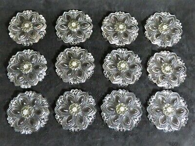 12 Vintage Solid Clear Glass Floral Curtain Tie Backs with Mounting Stems