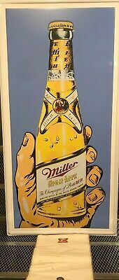 "MILLER HIGH LIFE BEER ~ RARE ~ 36"" x 18"" Warhol Style Bottle Tin Sign Bar"