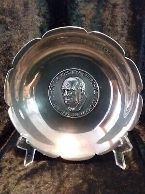 Solid Silver Commemorative Dish For Sir Winston Churchill 1874 - 1965