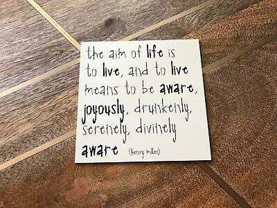 """Quotable Cards Magnet """"The Aim Of Life Is To..."""" - Henry Miller, Square, B&W"""