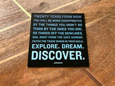 """Quotable Cards Magnet """"Twenty Years From Now..."""" - Unknown, Square, Black / Blue"""
