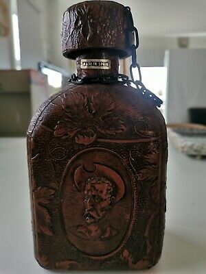 Vintage Spanish Leather Wrapped Cowboy Glass decanter