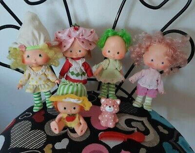 Lot of Vintage Strawberry Shortcake Dolls and Pet Custard incl Apple Dumpling