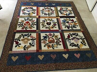 Handmade Appliqued Finished Quilt 63 X 78 Inches Approx