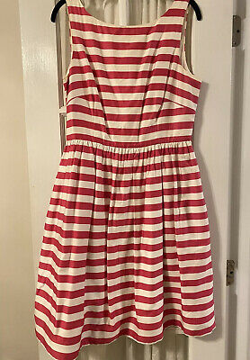 Lilly Pulitzer Dress Hot Pink White Stripe Pockets Womens Size 10 Party
