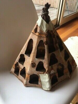 American Indian Figurines And Teepee Whatnot Display Old West