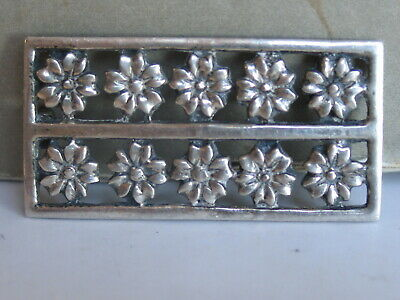 Vtg Sterling Silver Rows Stylized Daisies Solid Brooch Pin