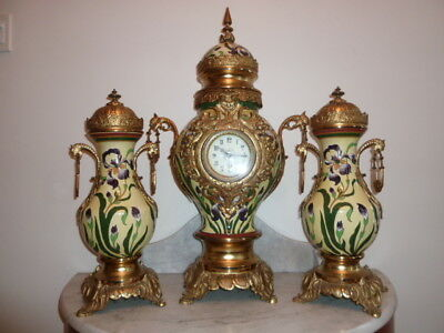 Monumental French Louis XV style 3 pcs hand painted porcelain ormolu clock 1880s